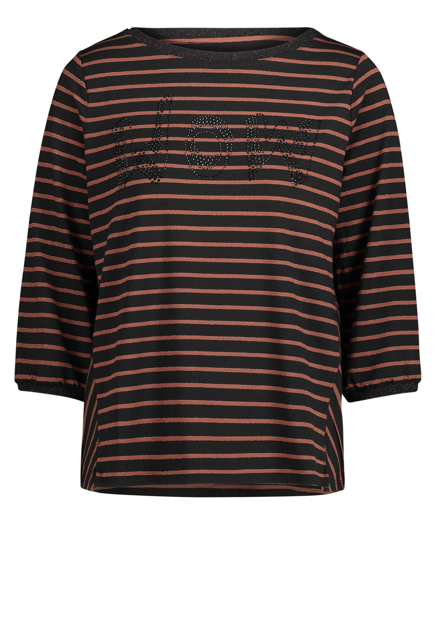 Artikel klicken und genauer betrachten! - Betty Barclay: Casual-Shirt, Basic zum Verlieben. Das zeitlose Casual-Shirt mit Streifenmusterung und Glitzerdruck auf der Front lässt sich problemlos kombinieren. | im Online Shop kaufen